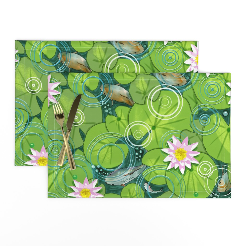 Lamona Cloth Placemats featuring Pond Circles with Flowers by vinpauld