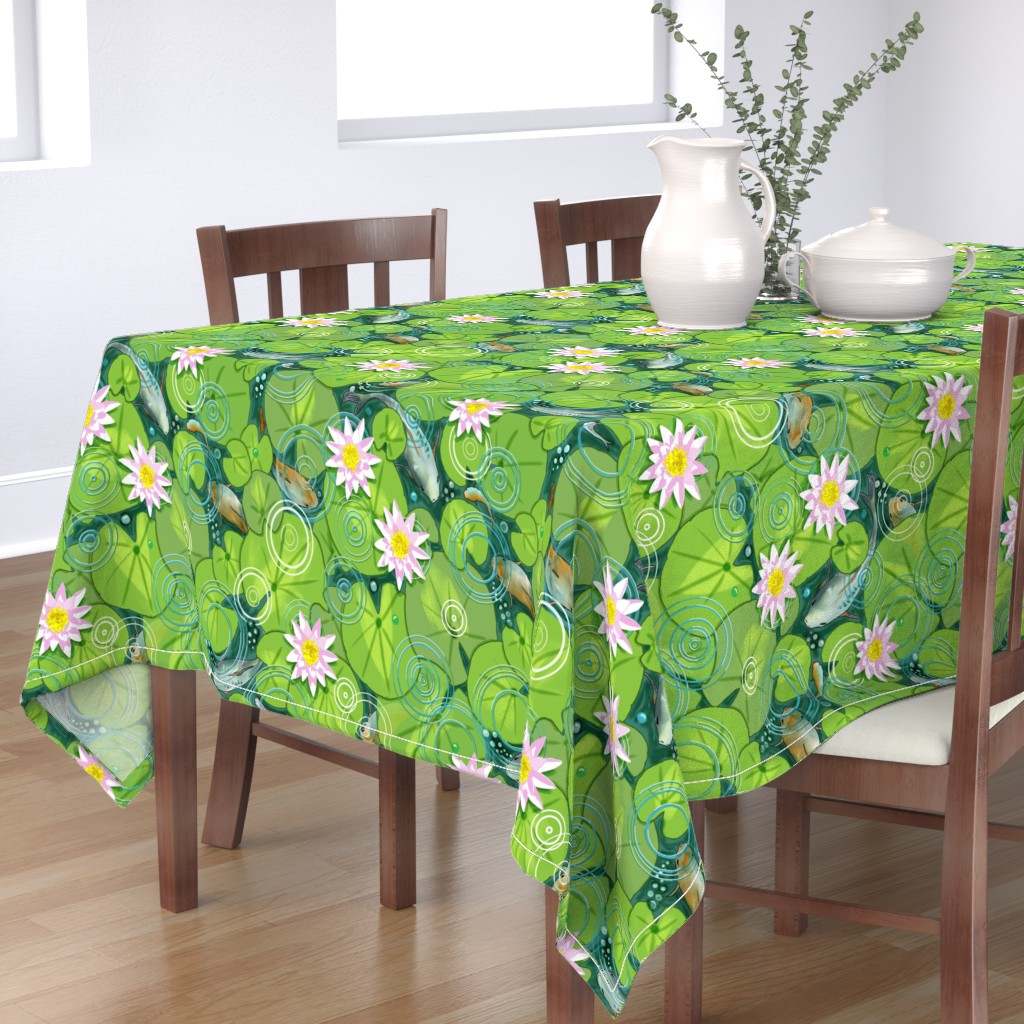 Bantam Rectangular Tablecloth featuring Pond Circles with Flowers by vinpauld