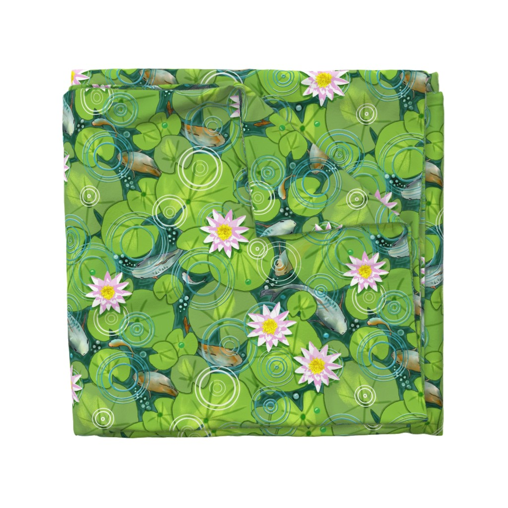 Wyandotte Duvet Cover featuring Pond Circles with Flowers by vinpauld