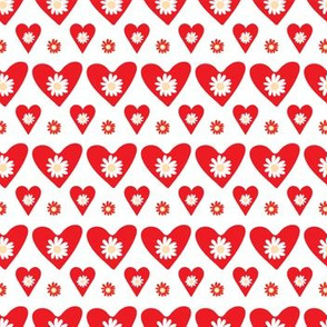 Daisy Red Heart Shapes