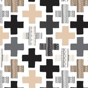 Gender neutral beige plus sign plus cross geometric modern aztec patterns rotated