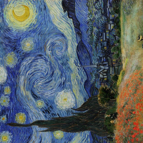 Tea Towel | Monet's Poppies + Starry Night Collage 2.0