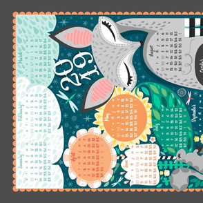 2019 Grey Fox N Squirrel Tea Towel