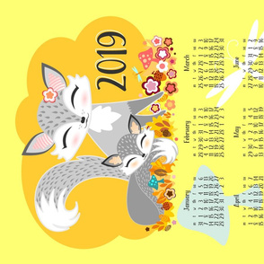 2019 Lil Grey Foxes Tea Towel