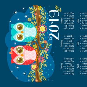 2019 Red N Blue Owls Tea Towel