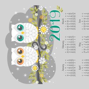 2019 White Owls On Grey Tea Towel