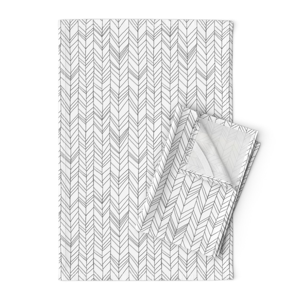 Orpington Tea Towels featuring Featherland White/Gray by leanne