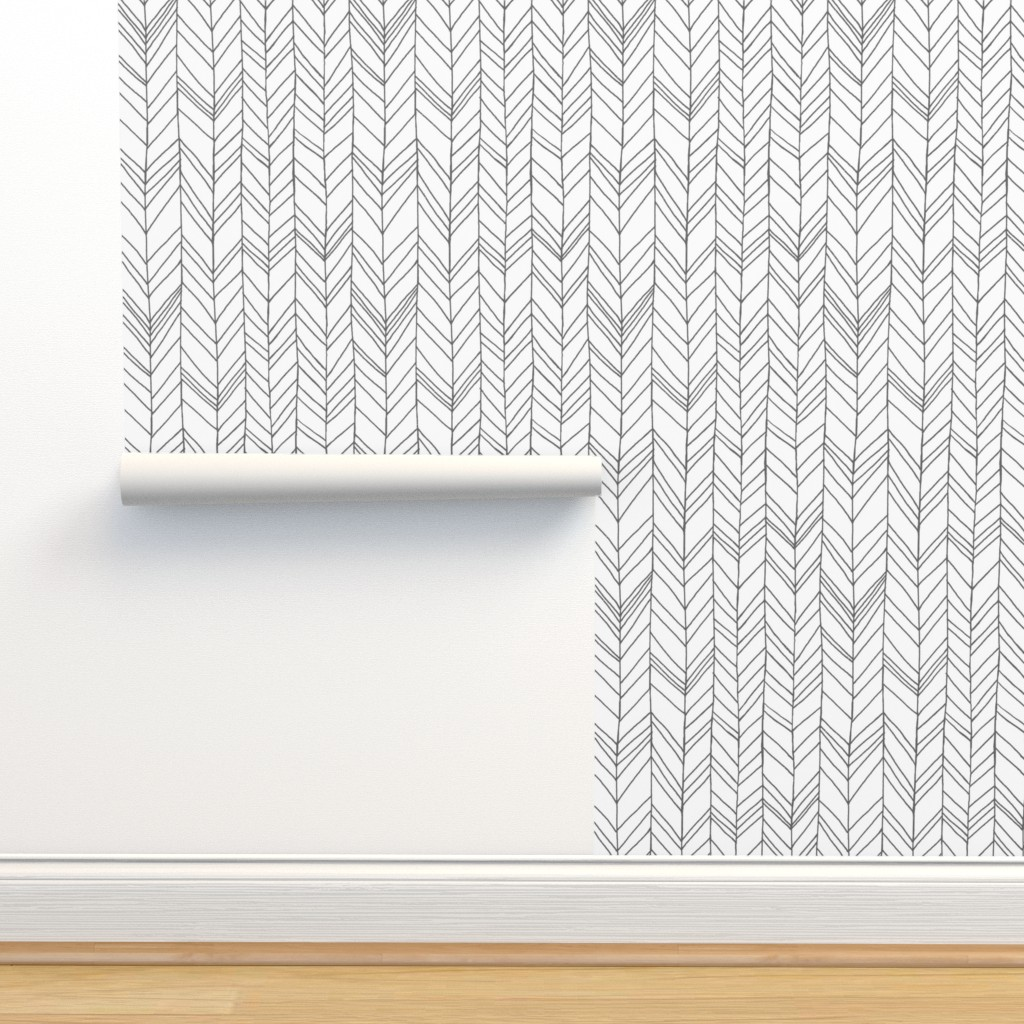 Isobar Durable Wallpaper featuring Featherland White/Gray by leanne