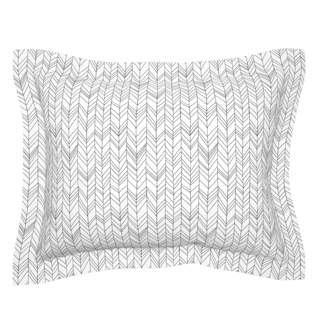 Sebright Pillow Sham featuring Featherland White/Gray by leanne