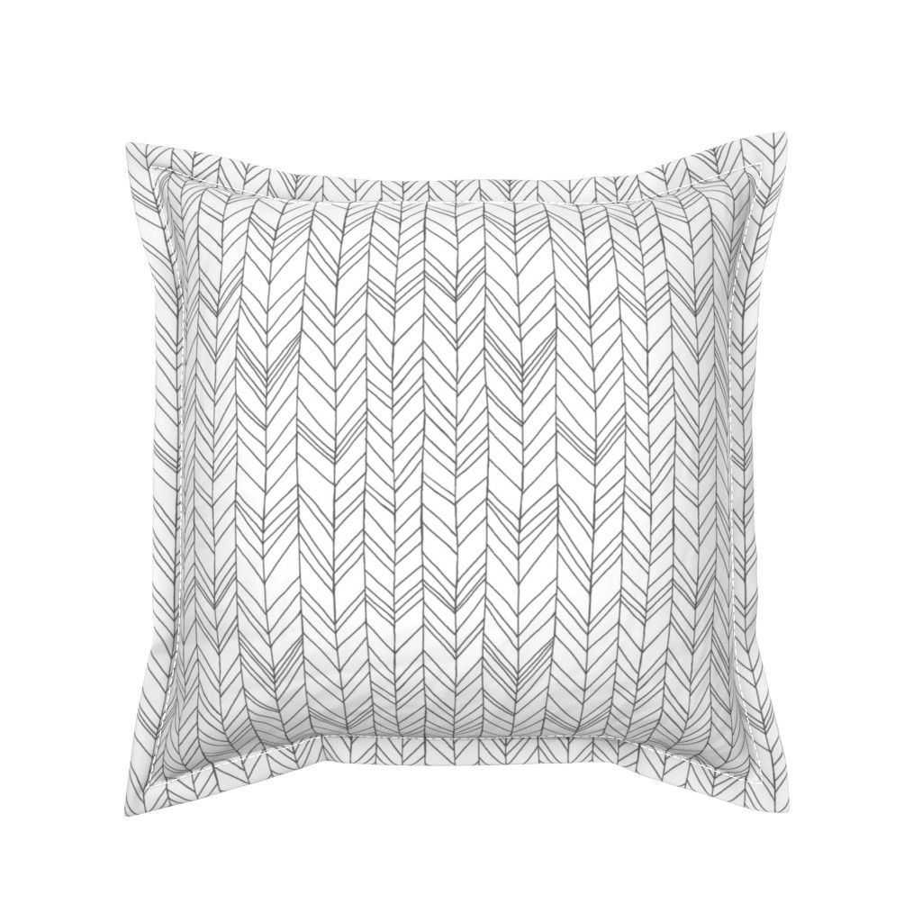 Serama Throw Pillow featuring Featherland White/Gray by leanne