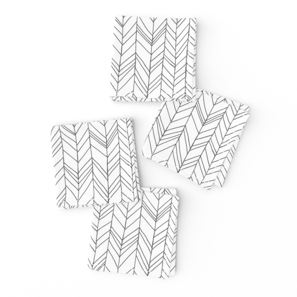 Frizzle Cocktail Napkins featuring Featherland White/Gray by leanne