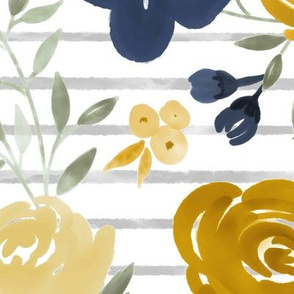 "Large Scale ""Navy & Mustard"" Watercolor Floral on Gray Stripes"