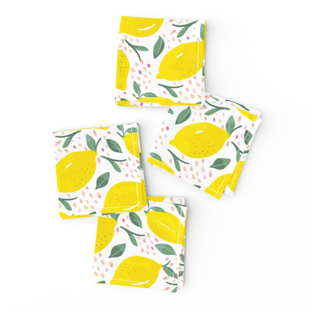 Frizzle Cocktail Napkins featuring Lemons by morsky