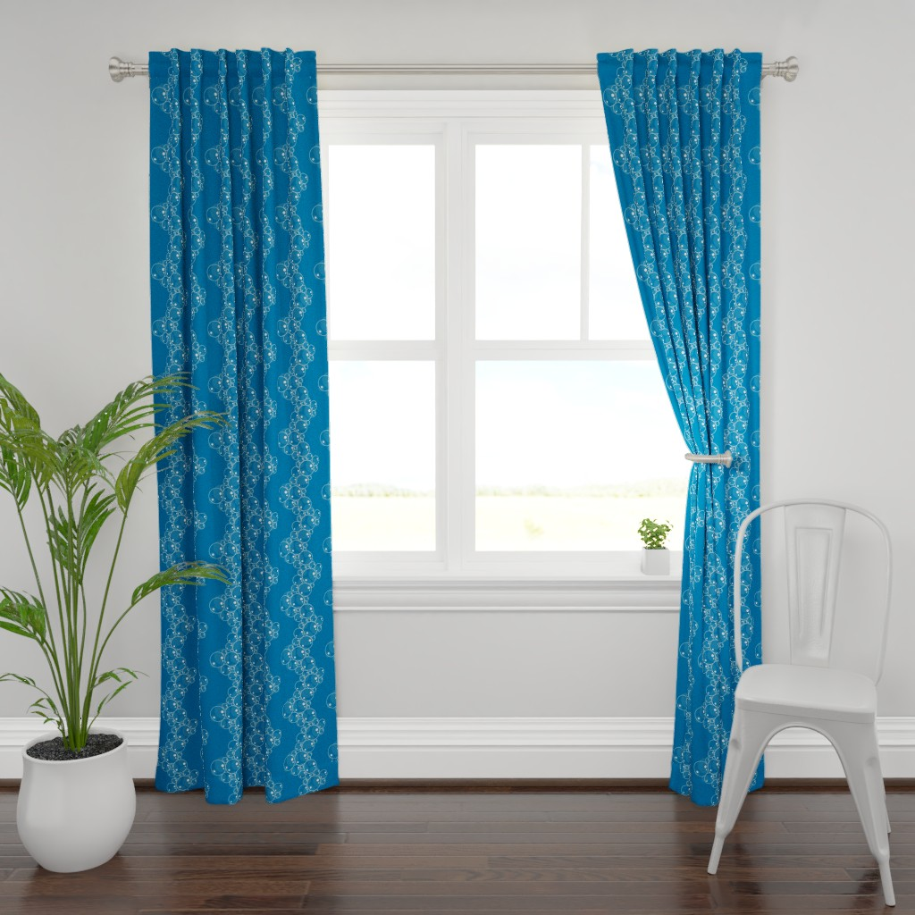 Plymouth Curtain Panel featuring Bubbles chevron blue by veronikanagydesigns