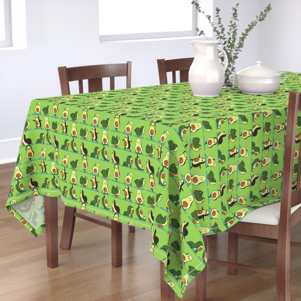 Bantam Rectangular Tablecloth featuring Avocado Yoga by huebucket