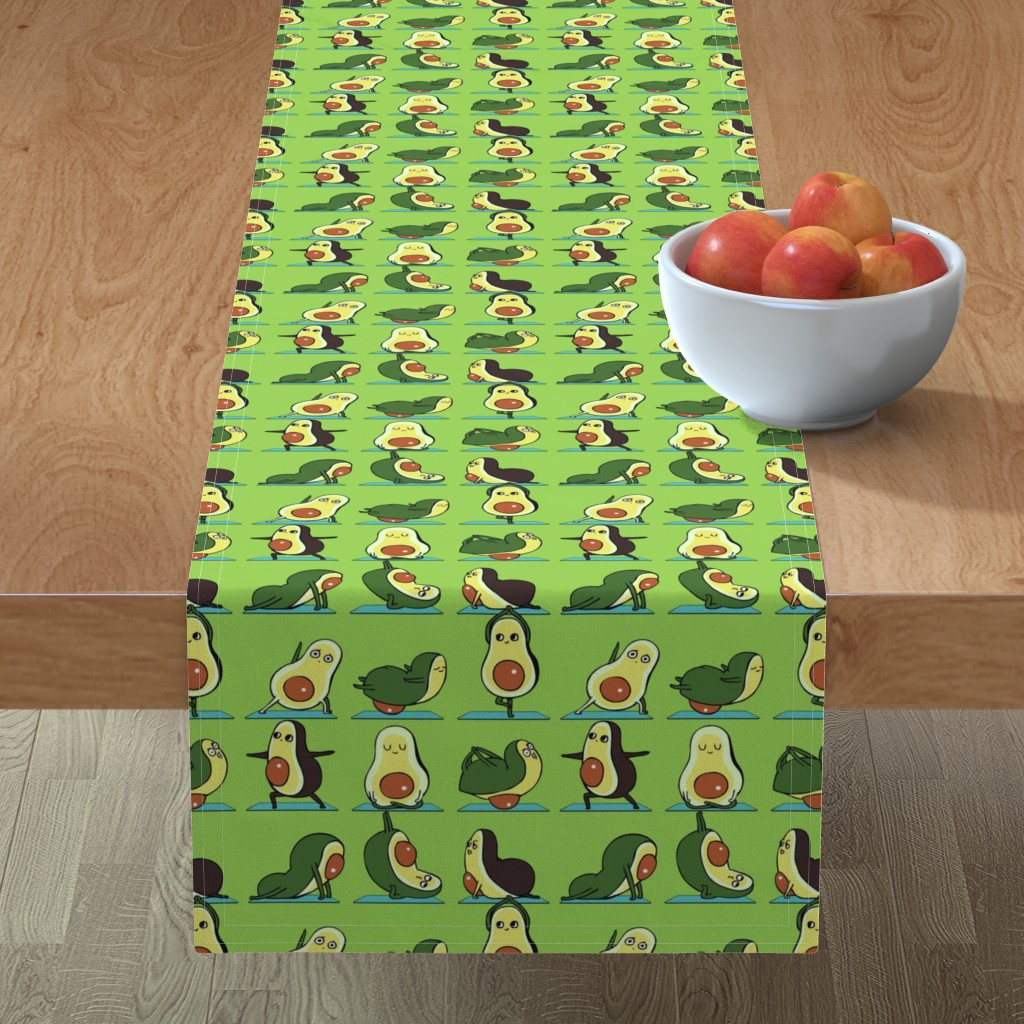 Minorca Table Runner featuring Avocado Yoga by huebucket