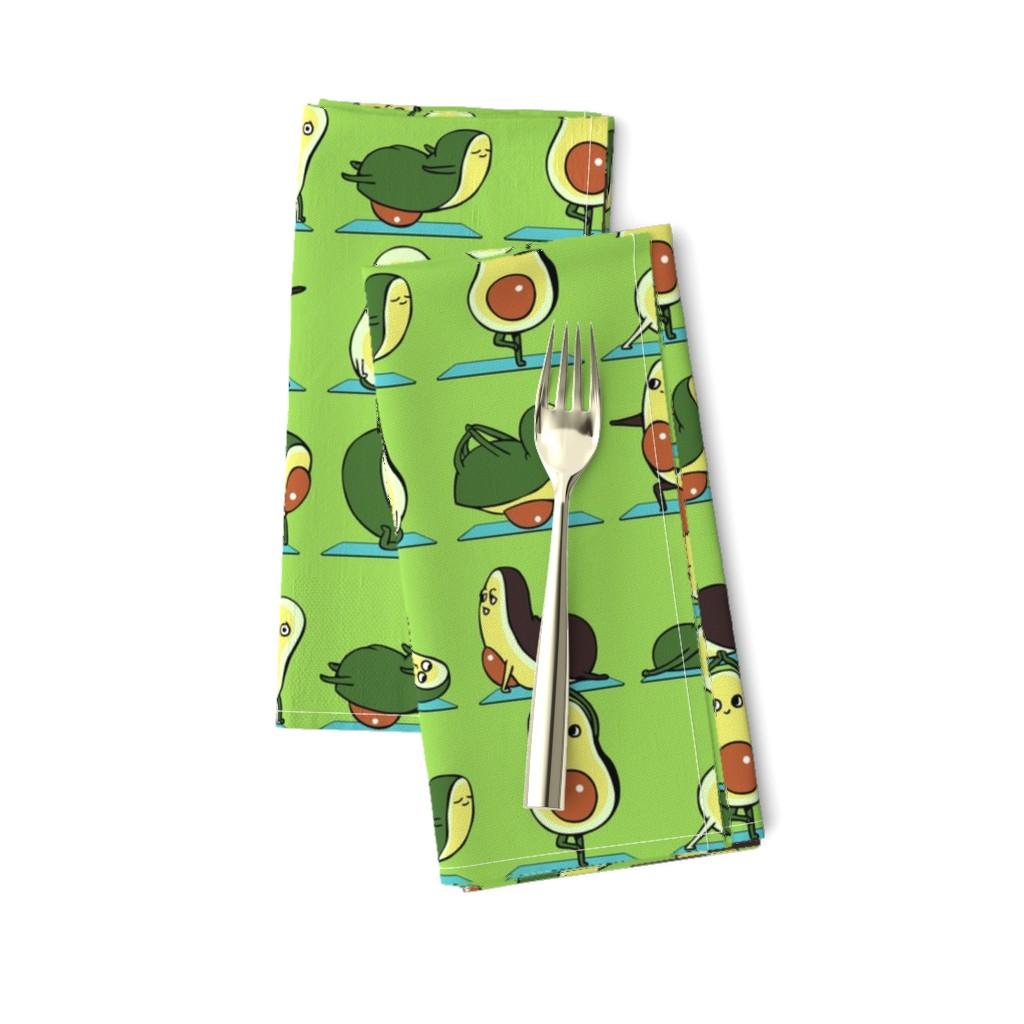 Amarela Dinner Napkins featuring Avocado Yoga by huebucket