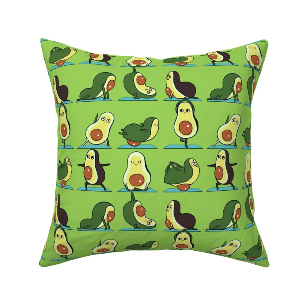 Catalan Throw Pillow featuring Avocado Yoga by huebucket