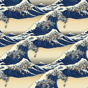 The Great Wave of Pugs Vanilla Sky