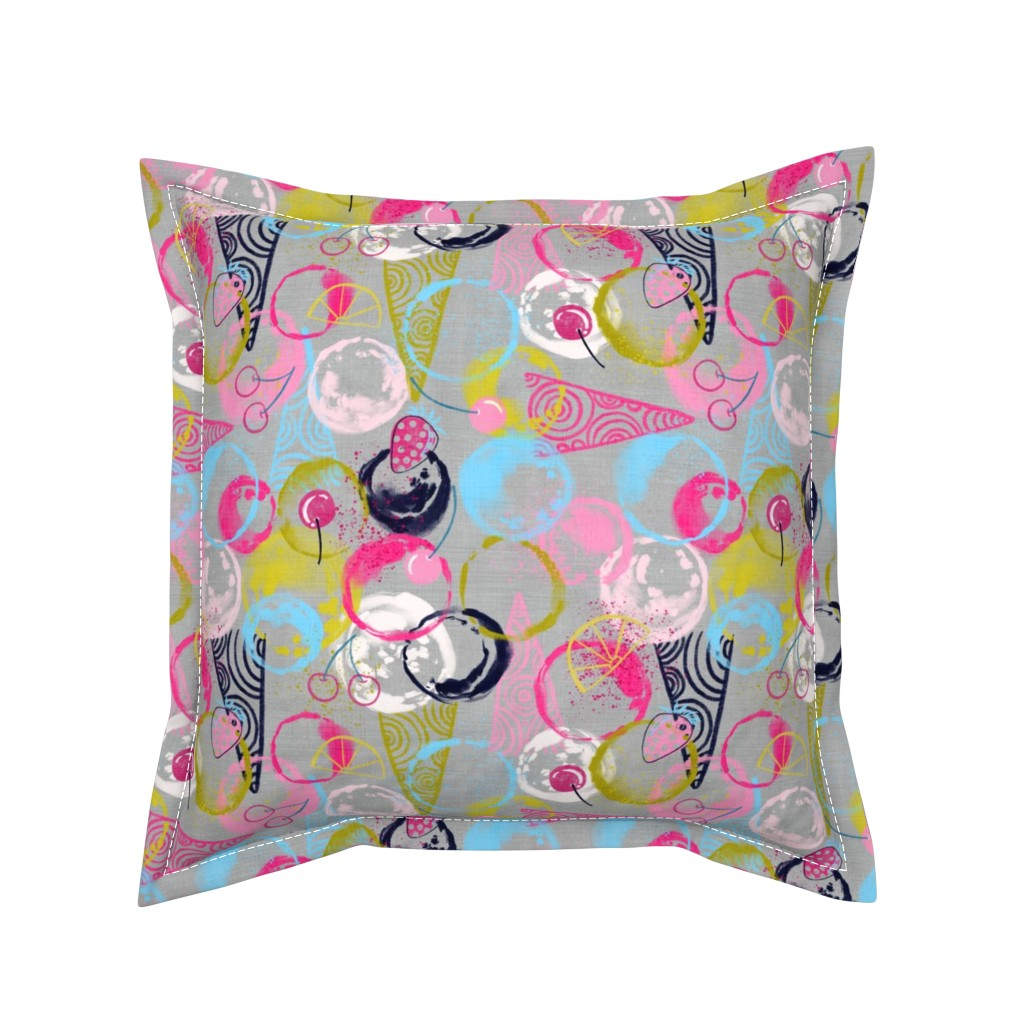 Serama Throw Pillow featuring Sweet Circles of Sorbet (silver)  by helenpdesigns
