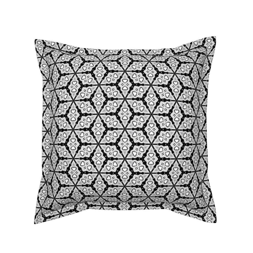 Serama Throw Pillow featuring Majorca - Black by siya