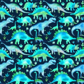 Blue and green dinosaurs - smaller scale