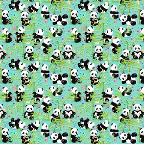 Small size, Cheerful panda with bamboo, bright turquoise background