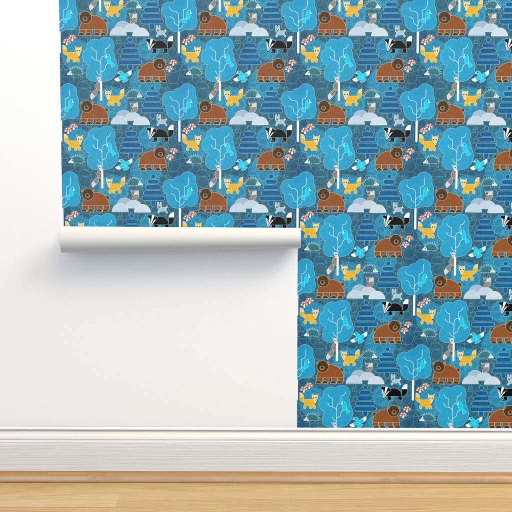 Isobar Durable Wallpaper featuring Woodland Animals Circle Contruction by heyjunge