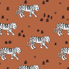 Jungle love tiger safari garden sweet hand drawn tigers pattern copper brown black and white