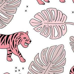 Jungle love tiger safari jungle garden sweet hand drawn tigers pattern soft pink girls LARGE