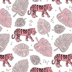 Jungle love tiger safari jungle garden sweet hand drawn tigers pattern soft pink girls