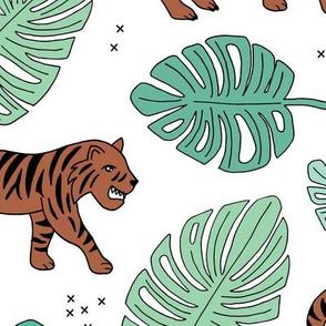 Jungle love tiger safari jungle garden sweet hand drawn tigers pattern green boys LARGE