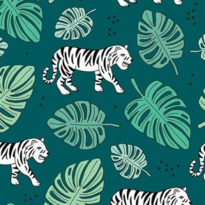 Jungle love tiger safari jungle garden sweet hand drawn tigers pattern fall winter teal green
