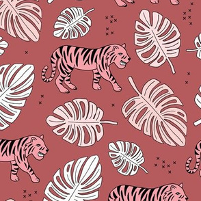 Jungle love tiger safari jungle garden sweet hand drawn tigers pattern fall winter cherry pink