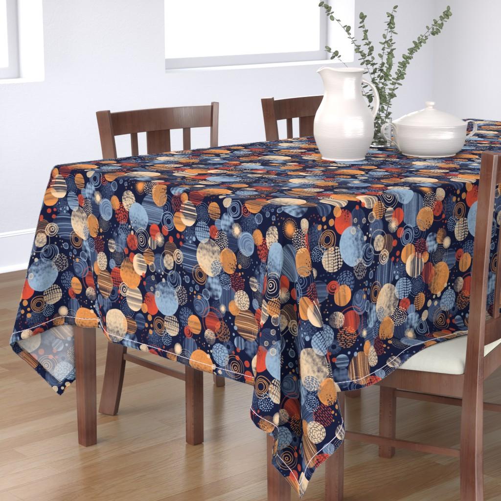 Bantam Rectangular Tablecloth featuring CLUSTERING CIRCLES by catalinakim