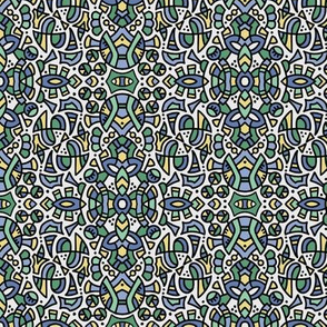 """201807B doodle pattern (small 6"""")  blue green yellow"""