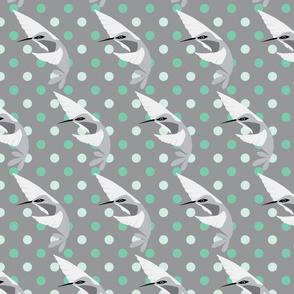 fuchsia & hummingbird polka dots gray