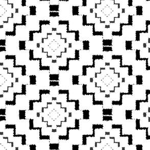 Rough Geometric Aztec Print - Black