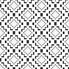 Rough Geometric Aztec Print - Black - Small Scale