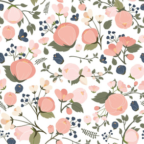 Victoria Pink & Navy Small Flowers