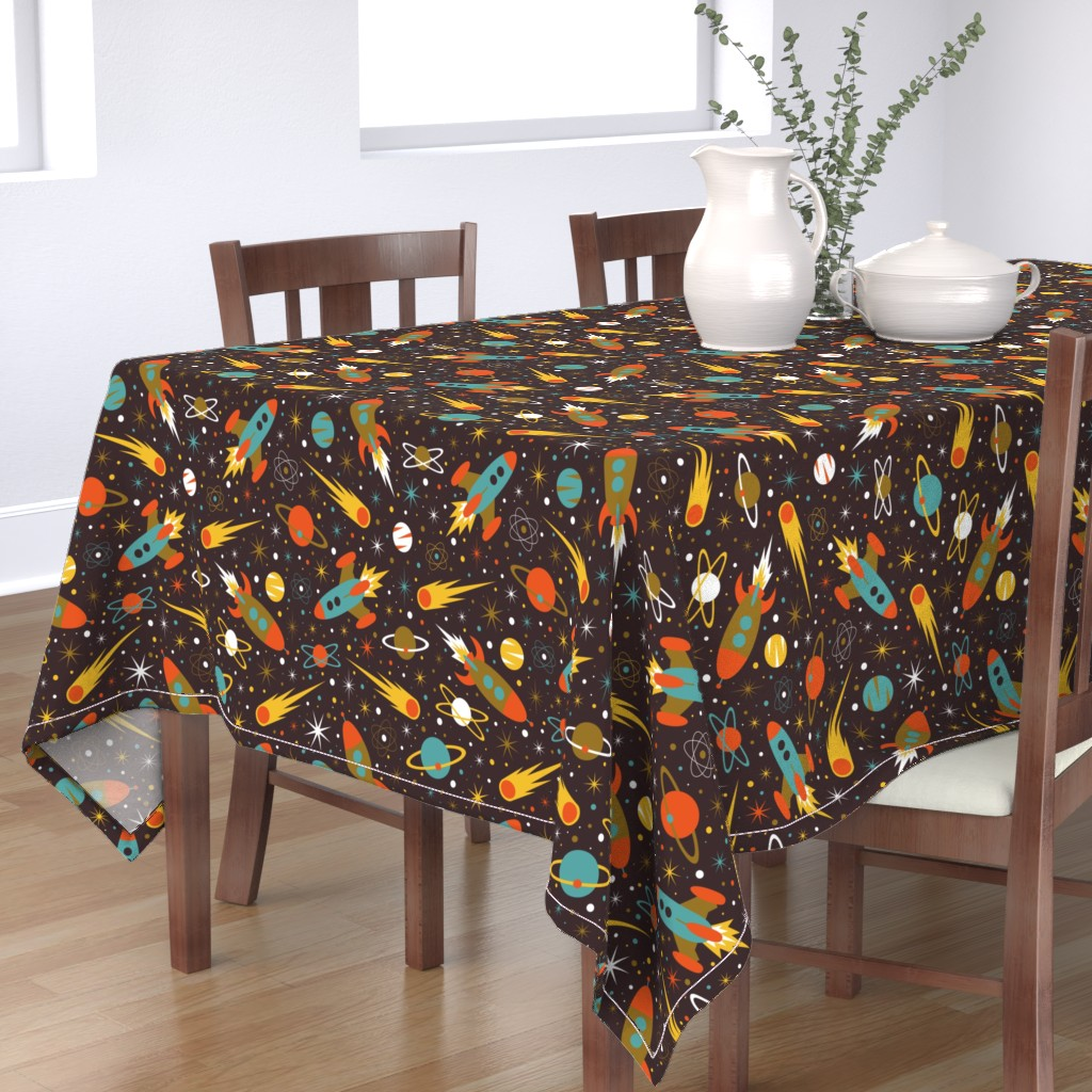 Bantam Rectangular Tablecloth featuring Space Race - 60s by diseminger