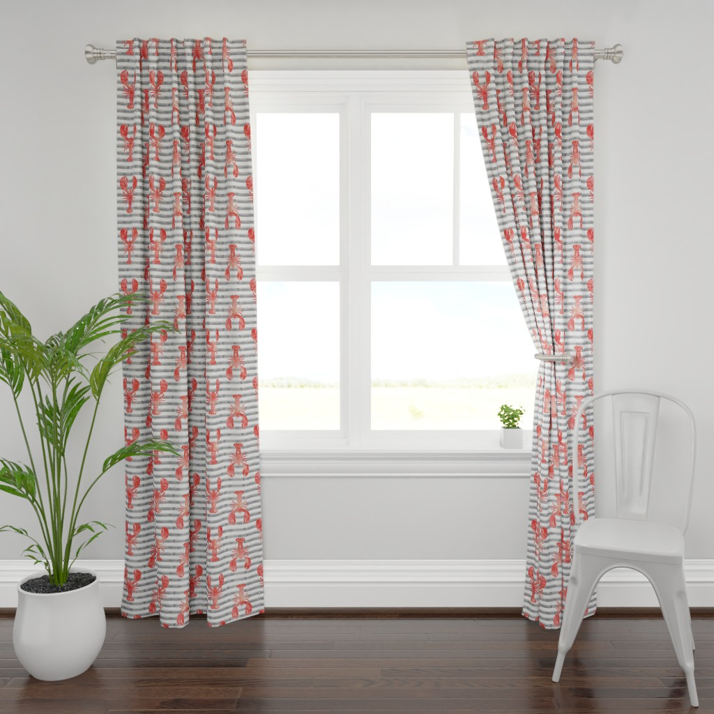 Plymouth Curtain Panel featuring (jumbo scale) lobsters on stripes (red & grey) by littlearrowdesign