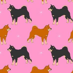 Shiba inus and night stars - pink