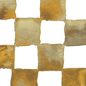 XL watercolor checkerboard - brown, gold, tan and white
