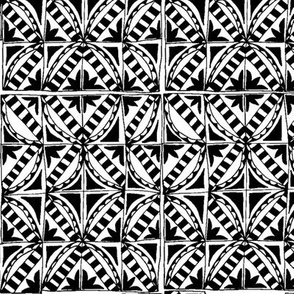 black and white deco tiles