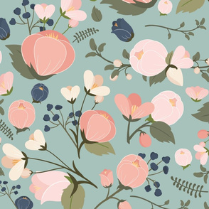 Victoria Pink  Navy & Mint SMALL Flowers