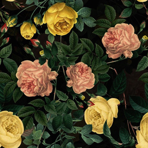 "18"" Pierre-Joseph Redouté yellow and pink roses on black, Mystic Night 38"