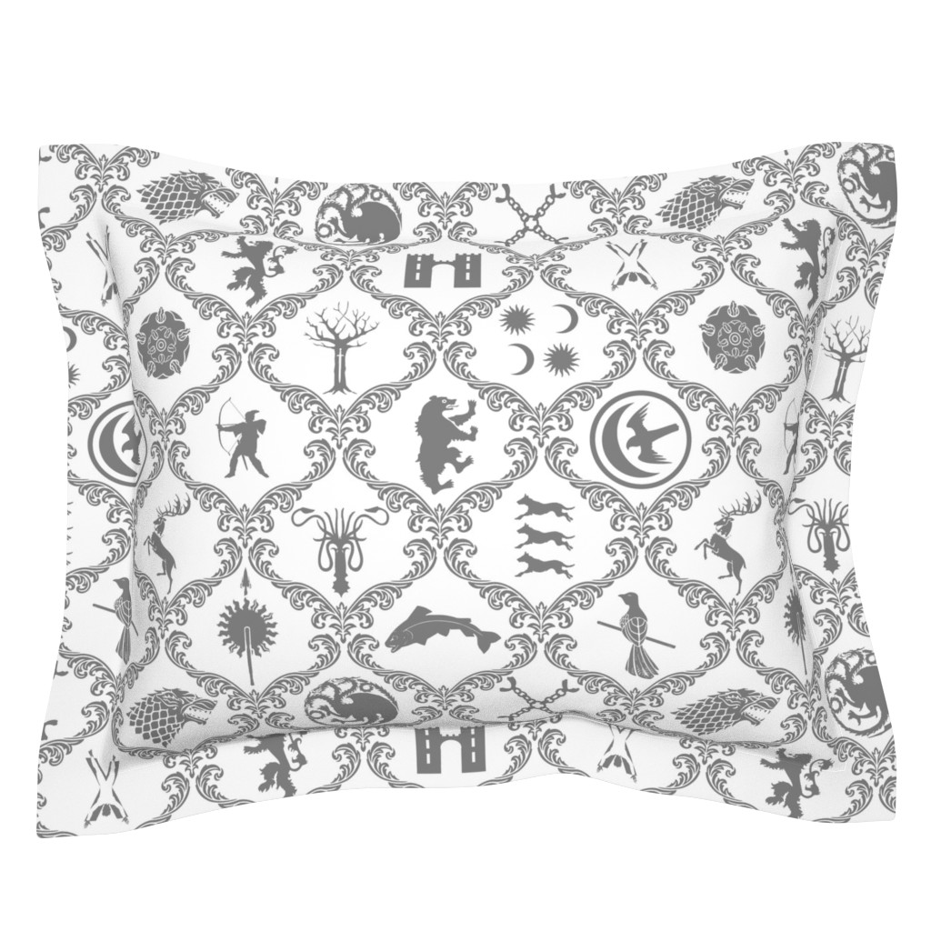 Sebright Pillow Sham featuring GOT Damask by ladyspring