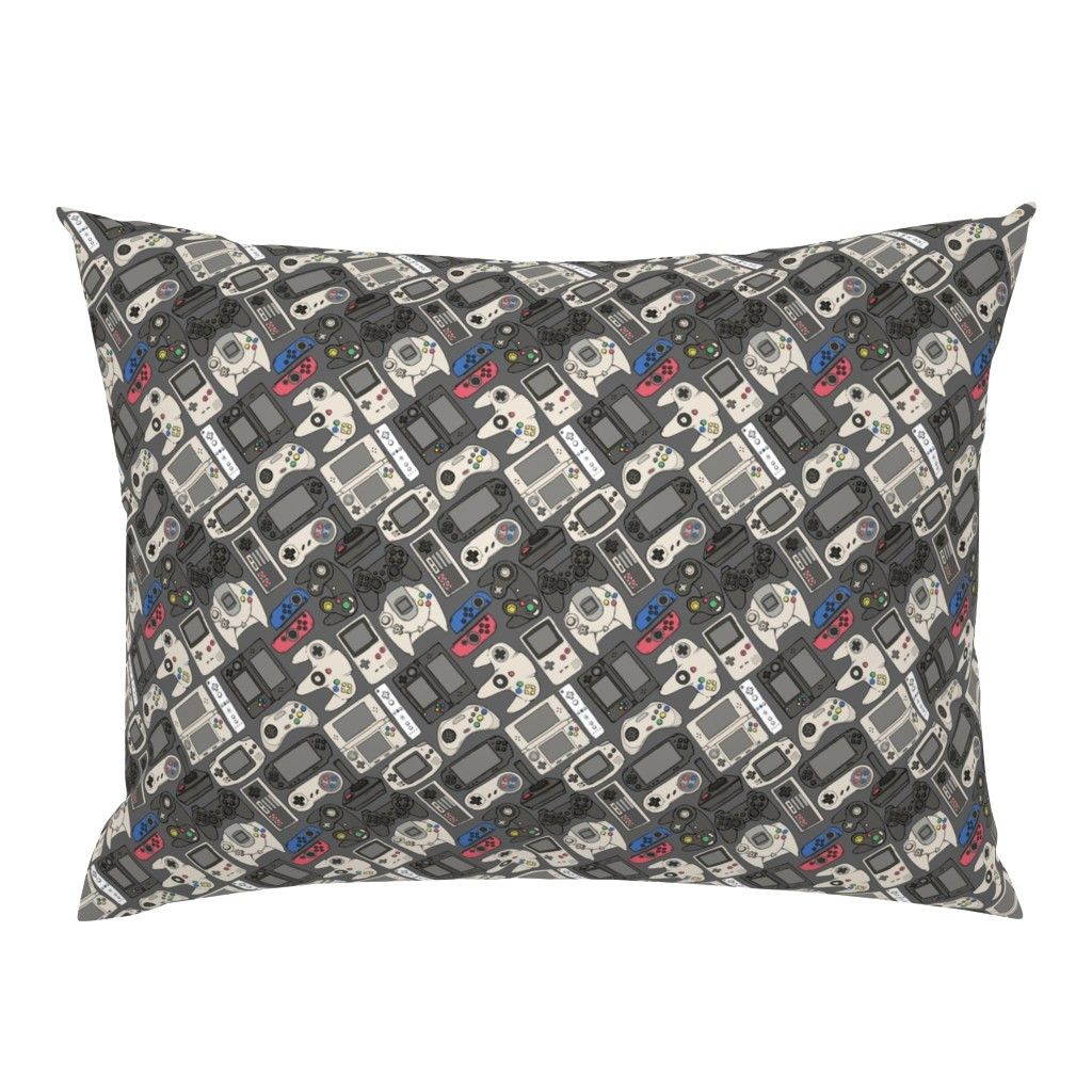 Campine Pillow Sham featuring Video Game Controllers in True Colors by spookishdelight