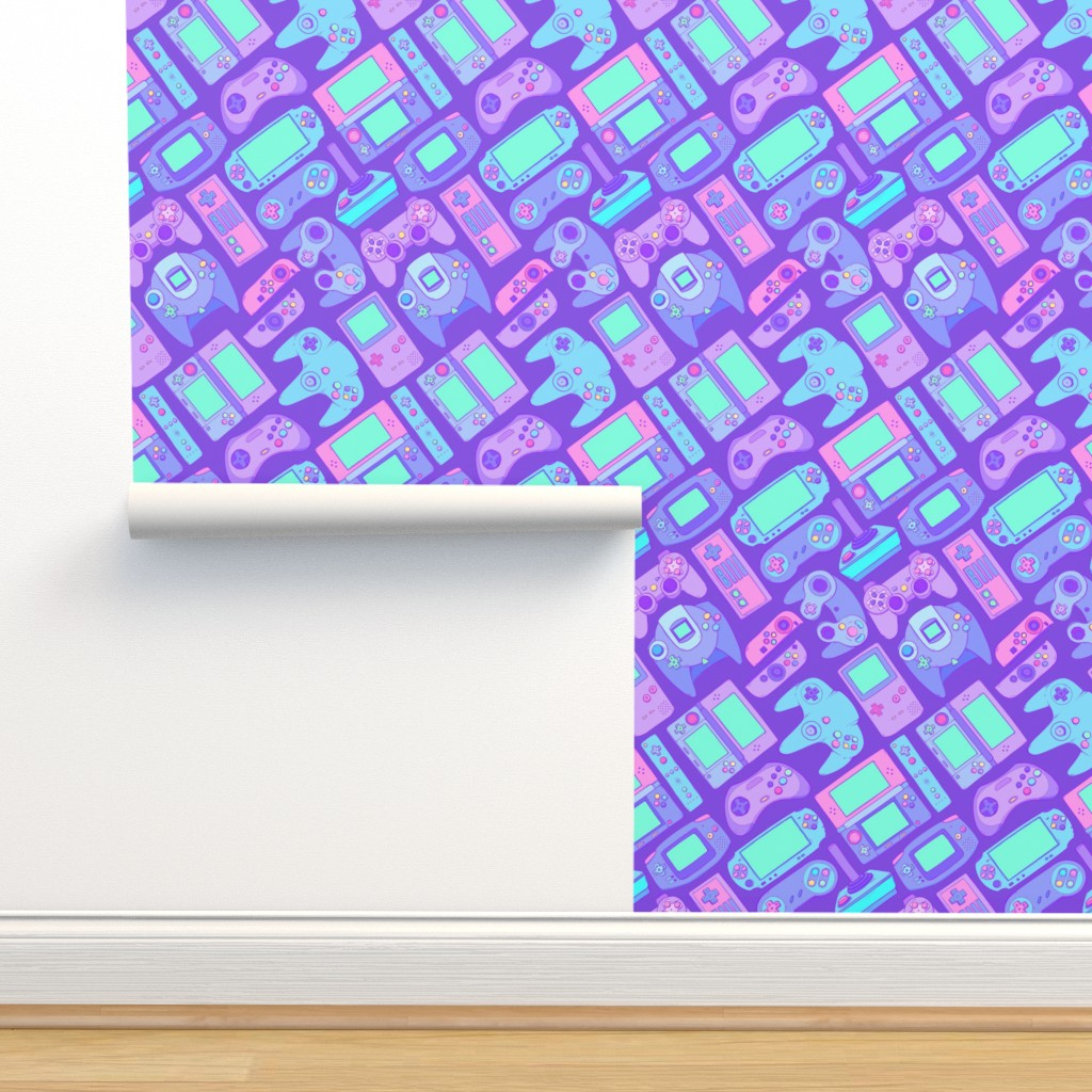 Isobar Durable Wallpaper featuring Video Game Controllers in Cool Colors by spookishdelight